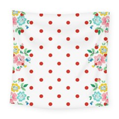 Flower Floral Polka Dot Orange Square Tapestry (large)