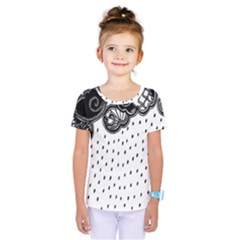 Batik Rain Black Flower Spot Kids  One Piece Tee