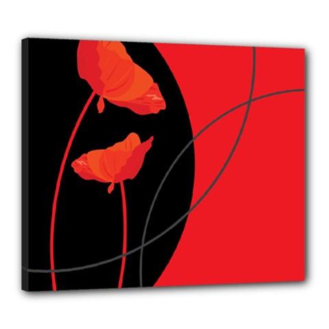 Flower Floral Red Black Sakura Line Canvas 24  X 20