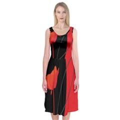Flower Floral Red Black Sakura Line Midi Sleeveless Dress