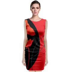 Flower Floral Red Black Sakura Line Classic Sleeveless Midi Dress