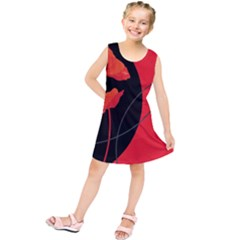 Flower Floral Red Black Sakura Line Kids  Tunic Dress
