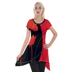 Flower Floral Red Black Sakura Line Short Sleeve Side Drop Tunic