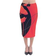 Flower Floral Red Black Sakura Line Velvet Midi Pencil Skirt