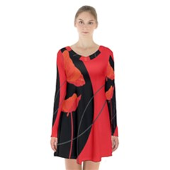 Flower Floral Red Black Sakura Line Long Sleeve Velvet V Neck Dress