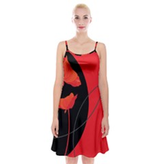 Flower Floral Red Black Sakura Line Spaghetti Strap Velvet Dress