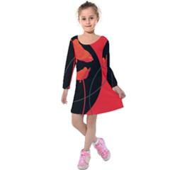 Flower Floral Red Black Sakura Line Kids  Long Sleeve Velvet Dress