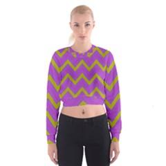 Zig Zags Pattern Women s Cropped Sweatshirt