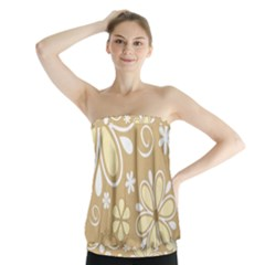 Flower Floral Star Sunflower Grey Strapless Top