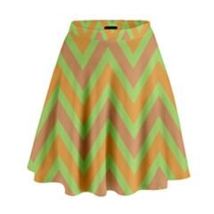 Zig zags pattern High Waist Skirt