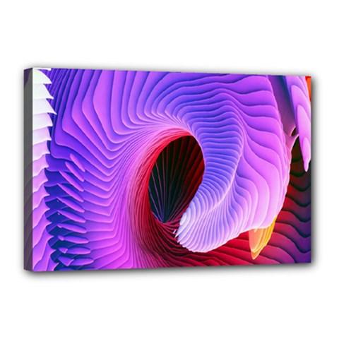Digital Art Spirals Wave Waves Chevron Red Purple Blue Pink Canvas 18  X 12