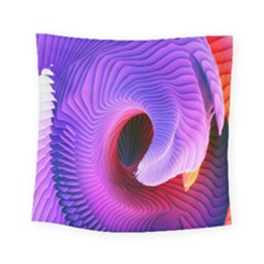 Digital Art Spirals Wave Waves Chevron Red Purple Blue Pink Square Tapestry (small)