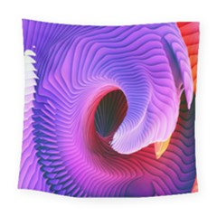 Digital Art Spirals Wave Waves Chevron Red Purple Blue Pink Square Tapestry (large)