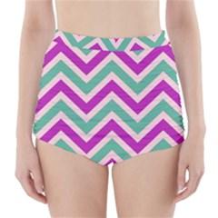 Zig zags pattern High-Waisted Bikini Bottoms