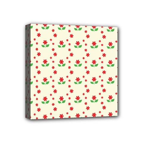 Flower Floral Sunflower Rose Star Red Green Mini Canvas 4  X 4