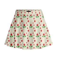 Flower Floral Sunflower Rose Star Red Green Mini Flare Skirt