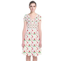 Flower Floral Sunflower Rose Star Red Green Short Sleeve Front Wrap Dress