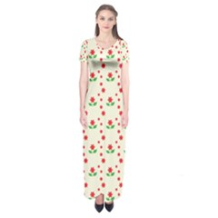 Flower Floral Sunflower Rose Star Red Green Short Sleeve Maxi Dress