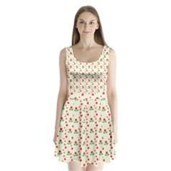 Flower Floral Sunflower Rose Star Red Green Split Back Mini Dress