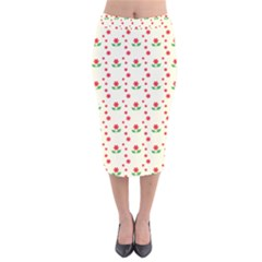 Flower Floral Sunflower Rose Star Red Green Velvet Midi Pencil Skirt