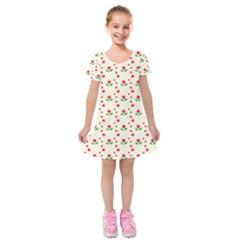 Flower Floral Sunflower Rose Star Red Green Kids  Short Sleeve Velvet Dress