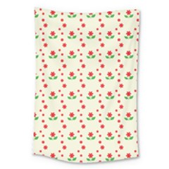 Flower Floral Sunflower Rose Star Red Green Large Tapestry
