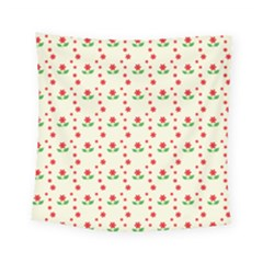 Flower Floral Sunflower Rose Star Red Green Square Tapestry (small)