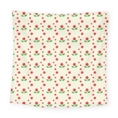 Flower Floral Sunflower Rose Star Red Green Square Tapestry (large)