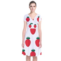Fruit Strawberries Red Green Short Sleeve Front Wrap Dress