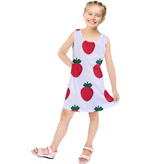 Fruit Strawberries Red Green Kids  Tunic Dress