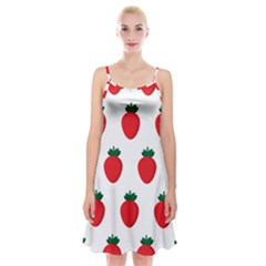 Fruit Strawberries Red Green Spaghetti Strap Velvet Dress