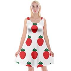 Fruit Strawberries Red Green Reversible Velvet Sleeveless Dress