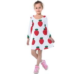Fruit Strawberries Red Green Kids  Long Sleeve Velvet Dress