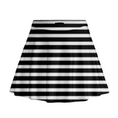 Horizontal Stripes Black Mini Flare Skirt
