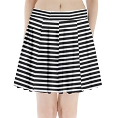 Horizontal Stripes Black Pleated Mini Skirt