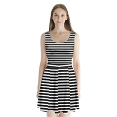 Horizontal Stripes Black Split Back Mini Dress