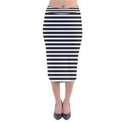 Horizontal Stripes Black Velvet Midi Pencil Skirt