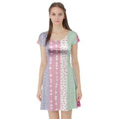 Heart Love Valentine Polka Dot Pink Blue Grey Purple Red Short Sleeve Skater Dress