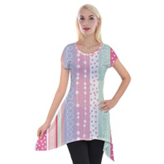 Heart Love Valentine Polka Dot Pink Blue Grey Purple Red Short Sleeve Side Drop Tunic
