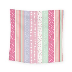 Heart Love Valentine Polka Dot Pink Blue Grey Purple Red Square Tapestry (small)