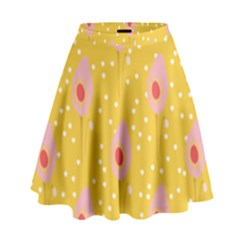 Flower Floral Tulip Leaf Pink Yellow Polka Sot Spot High Waist Skirt