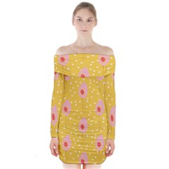 Flower Floral Tulip Leaf Pink Yellow Polka Sot Spot Long Sleeve Off Shoulder Dress