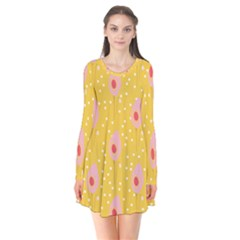 Flower Floral Tulip Leaf Pink Yellow Polka Sot Spot Flare Dress