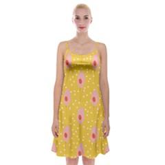 Flower Floral Tulip Leaf Pink Yellow Polka Sot Spot Spaghetti Strap Velvet Dress