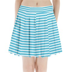 Horizontal Stripes Blue Pleated Mini Skirt