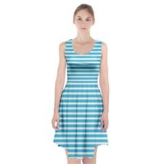 Horizontal Stripes Blue Racerback Midi Dress