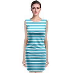 Horizontal Stripes Blue Sleeveless Velvet Midi Dress