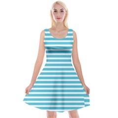 Horizontal Stripes Blue Reversible Velvet Sleeveless Dress
