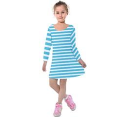 Horizontal Stripes Blue Kids  Long Sleeve Velvet Dress