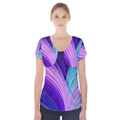 Color Purple Blue Pink Short Sleeve Front Detail Top